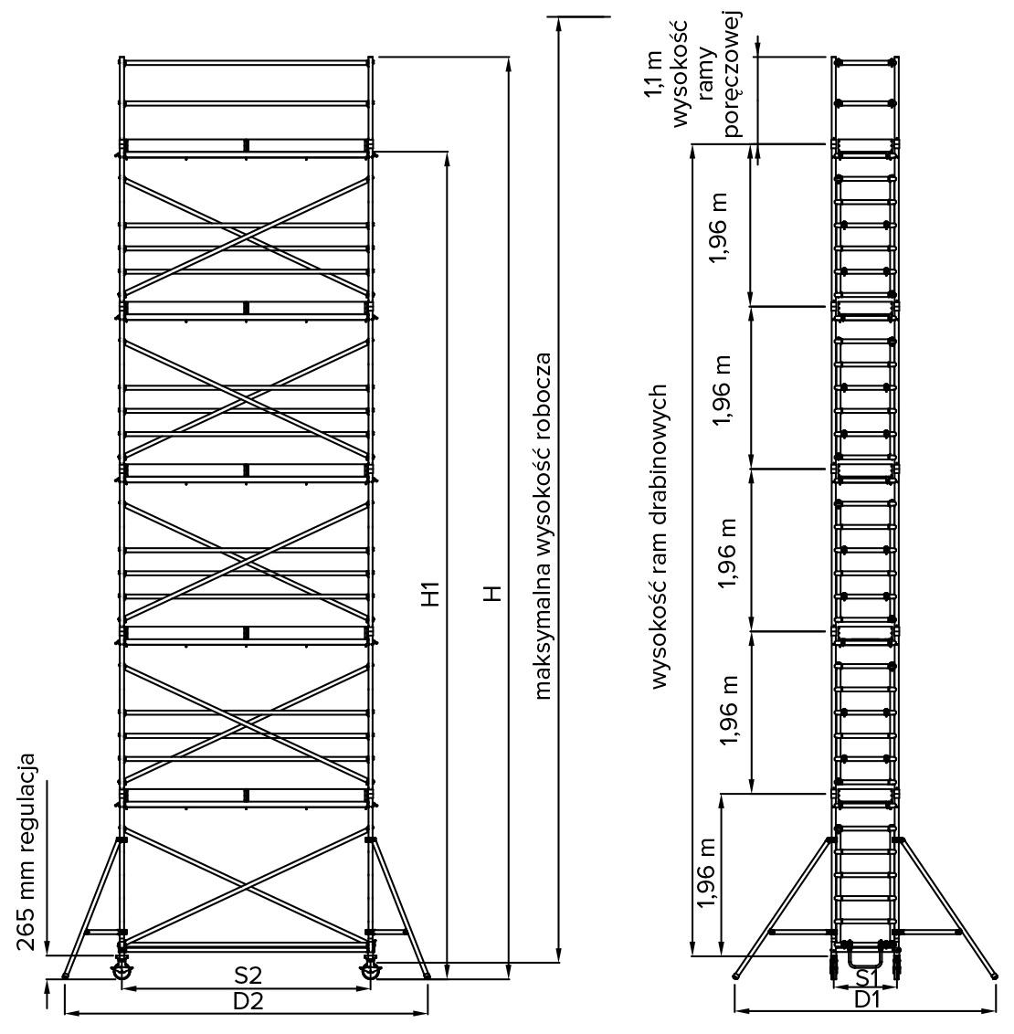 Rysunek techniczny drabiny ra 1130