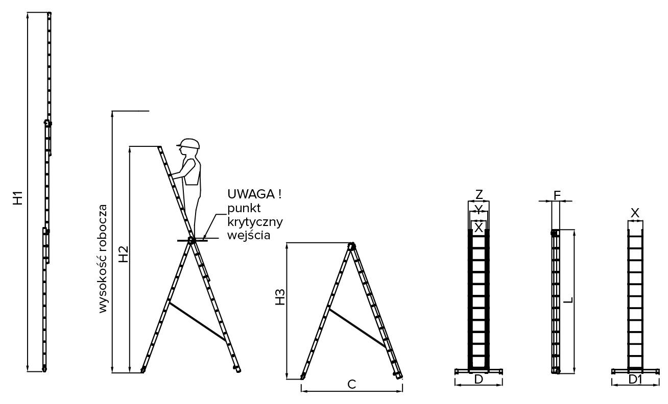 Drabina Drabex Tp 4101 3x15 dane techniczne